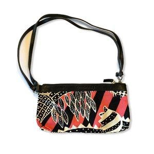 Cacharel Purse Small Canvas Leather Trim Floral
